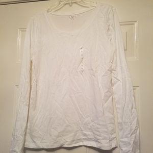 Loft Ann Taylor white long sleeve medium t shirt